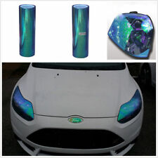 2Pcs 1m Chameleon Colorful Blue Car Headlight Tail Fog Light Vinyl Tint Film New