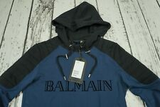 BALMAIN x H&M Blue Hooded Sweatshirt Text Logo Hoodie Extra Small XS