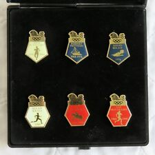 1996 SCOTTISH OLYMPIC HEROES 6 ENAMEL BADGE COLLECTION - boxed