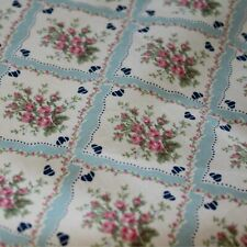 Shabby Chic Floral Blue Design 100% Cotton Fabric Patchwork Quilting 50 x 112cm