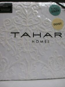 TAHARI 3pc White Ivory Embroidered Floral Duvet Set - Full/Queen