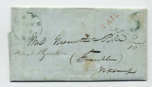 1846 Bath NH green CDS stampless handstamp 5 rate [5246.136]
