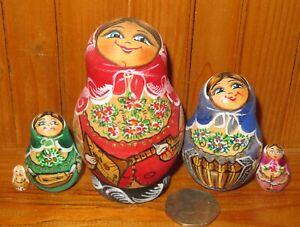 Matryoshka MUSIC Accordion Balalaika Gusly Babushka MATT Nesting Russian dolls 5