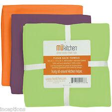 Set/3 MU Kitchen Cotton Flour Sack Tea Towels Beach Lime Purple Orange - NEW