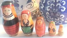 Five Scottish Lassies in Traditional Folk Dress 5 Hand Painted Nesting Dolls