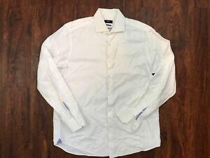hugo boss dress shirt regular fit white solid size: 17 - 43