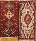 Pack of 2 Geometric Hand-made Hamedan Wool Rug Kitchen Bathroom Carpet 1'x2'