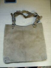 "Ladies Handbag NAFNAF brown suede tote, 16x14x1"" & damaged handles 3141"