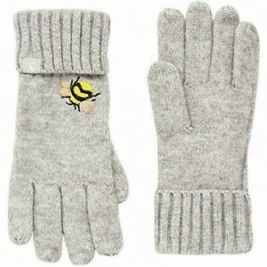 Joules Stafford Embroidered Gloves - Grey Embroidered Bee - One Size - BNWT