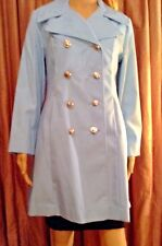 Vintage Blue Double Breasted Flared Trench Coat by Rosalee
