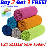 Instant Ice Cooling Towel for Sports Workout Fitness Gym Yoga Hiking Pilates USA