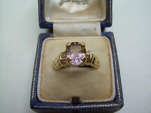 Vintage 14ct Gold & Natural Pale Amethyst Ring Size N.