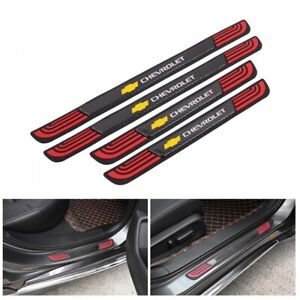 4PCS Rubber+Carbon Car Door Scuff Sill Cover Panel Step Protector For Chevrolet