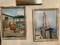 2 (Pair) VINTAGE ORIGINAL OIL PAINTING CANVAS FRAMED MARINA LANDSCAPE SEASCAPE