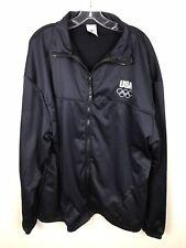 USA Olympic Jacket Size XXXL Navy Blue White Lightweight Polyester Front Zipper