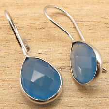 Real BLUE CHALCEDONY Gems Women's Girls Fashionable Earrings ! 925 Silver Plated