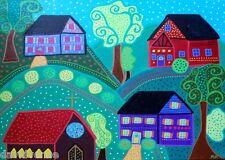 Folk Art Town Church Houses  Kerri AMBROSINO ACEO Canvas Giclee Print ATC