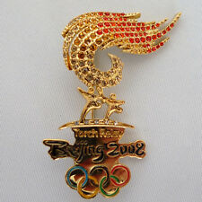 China Beijing 2008 Olympic Games souvenirs Torch Relay  crystal brooch badge pin