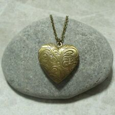 Heart Locket Necklace Etched Heart Jewelry Antique Bronze