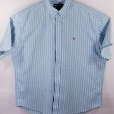 Ralph Lauren Blake short sleeve button-down shirt Oxford baby blue white striped