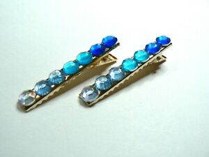Pair Of Gold Sparkly Crystal Hair Crocodile Clips Short 55mm Slides Blue Mix