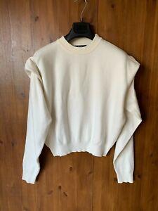 BERSHKA JUMPER Ivory Cream High Neck Knit Structured Shoulder S / UK 10-12 - VGC