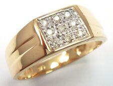 NICE 9KT SOLID YELLOW GOLD 9 DIAMONDS MEN'S RING R1152