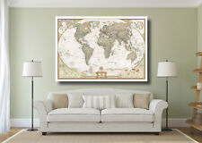 Vintage World Map Large Poster Wall Art Print - A0 A1 A2 A3 Maxi