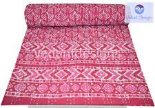 Handmade Cotton Vintage Block Queen Kantha Quilt Indian Bedspread