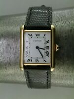 Large Cartier Tank Watch WITH BOX 18K Yellow Gold Mechanical Black Strap 1980 yr