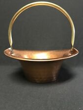 Vintage Coppercraft Guild Hammered Copper Basket with Brass Handle