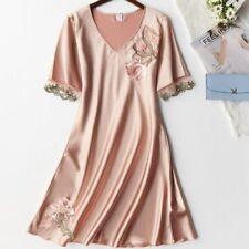 Silky Satin Women Nightgown Sleepwear Casual Nightdress Summer Sleep Nightshirt
