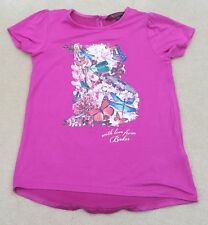 BAKER By Ted Baker Girls Pink Cerise With Love Short Sleeve T Shirt 5-6 Years