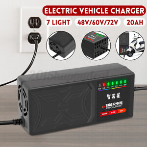 48V 20AH/60V 20AH/72V 20AH 7-Light Electric Vehicle Battery Charger Adapter