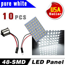 10 X White 48SMD Panel Trailer Dome Interior Led Light Lamp+ BA15S 1156 Adapter