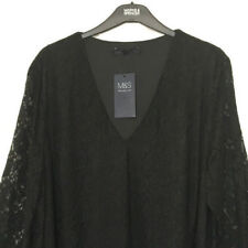 M&S Marks s26 Ladies Black Lace Sheer Lace Sleeve Stretch Top Blouse Party BNWT