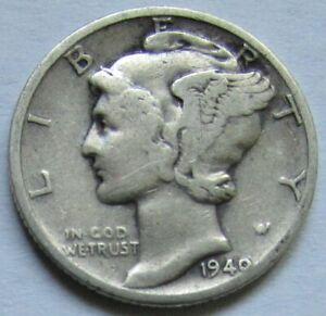 USA - États-Unis - Mercury dime 1940 en argent