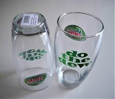 """MINT 1999 SET: 12 """"MOUNTAIN DEW"""" / """"DO THE DEW"""" GLASSES WITH ORIGINAL STICKERS"""