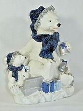 POLAR BEAR & CUB     Winter Wonderland  Whimsical Blue Scarf  Silver Bells