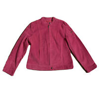I.E. Relaxed Womens Pink Suede Jacket Mauve Leather Bomber Coat Zip up Medium