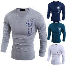 Herren Basic T Shirt Langarm Shirt Sweatshirt Pullover V-Ausschnitt Slim