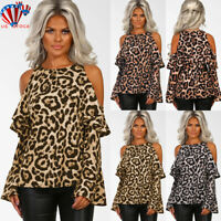 Womens Leopard Print Cold Shoulder Blouses Long Sleeve Casual Loose Tops T-shirt