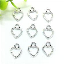 Bulk 100pcs Heart Antique Silver Charms Pendants For Earrings Necklace Bracelet