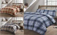 Tartan Check Flannel 100% Brushed Cotton Duvet Cover Sets SheetsPillow cases