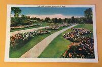 THE ROSE GARDENS, MINNEAPOLIS MN vintage unposted linen postcard