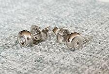 Platinum Solid Ball  Stud Earrings w/ Diamond Accent