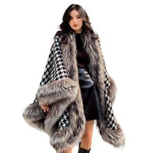 Winter Fur Poncho Cape Women Cashmere Shawls Houndstooth Cloak Fur Trim 33547