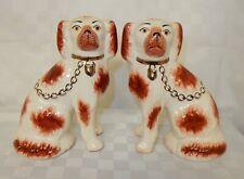 Pair Kent Staffordshire Ware Pottery Fireside Wally Dogs / Spaniels Open Legs