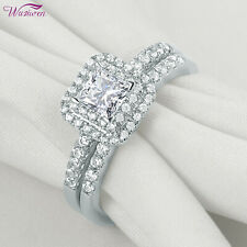 White Cz Sterling Silver Size 10 Wedding Engagement Ring Set For Women Princess