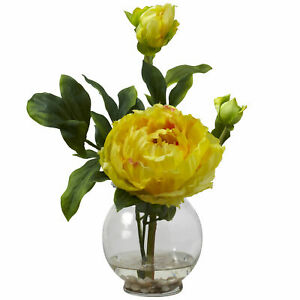 Peony W/ Fluted Vase Silk Flower Arrangement Nearly Natural Home Decor Yellow